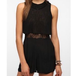 Pins and Needles- Anthro Peekaboo lace romper